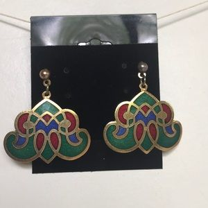 Jewelry - Vintage Red Green Purple Gold Color Earrings